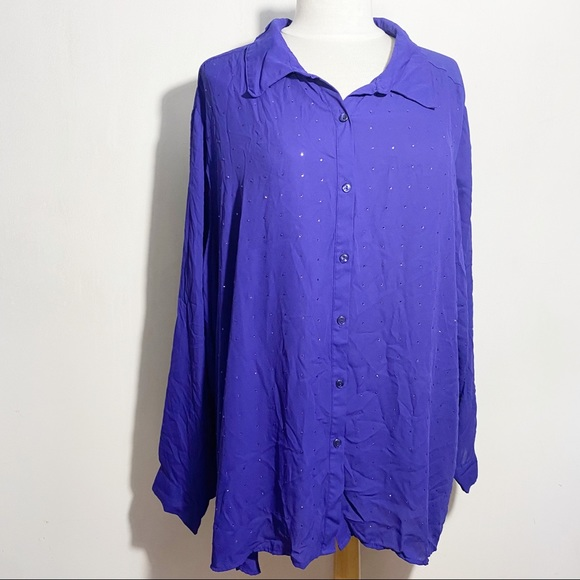 GEORGE button up blouse with sparkle front 4X